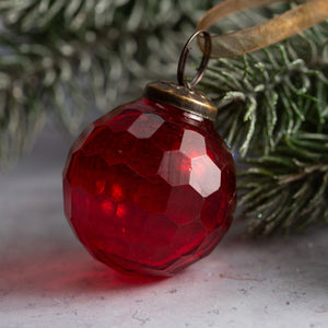 "2"" Medium Red Cut Glass Golf Ball Design Christmas Bauble"