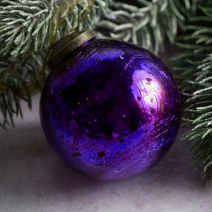 "3"" Large Purple Crackle Glass Christmas Bauble"