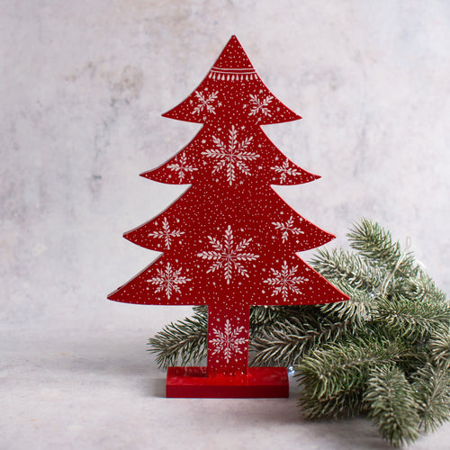 Red Snowflake Wooden Giant Tree