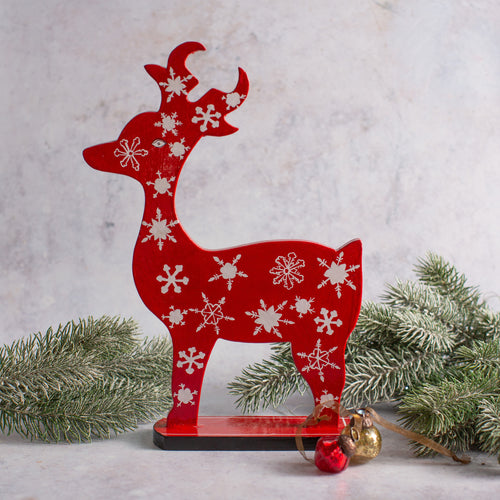 Mini Red Snowflakes Wooden Giant Reindeer
