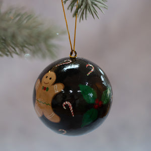 "3"" Black Gingerbread Man Christmas Bauble"