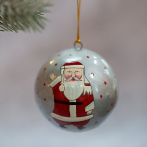 "3"" Silver Father Christmas Bauble"