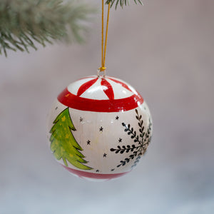 "3"" Red & White Christmas Tree Christmas Bauble"