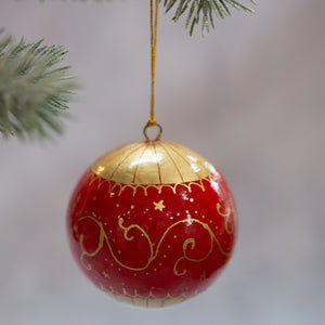 "3"" Red & Gold Carousel Christmas Bauble"