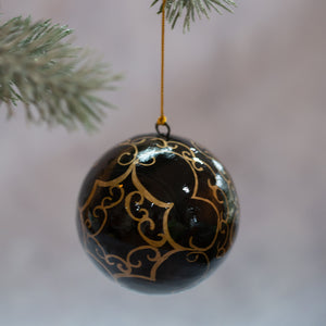 "3"" Black & Gold Swirl Christmas Bauble"