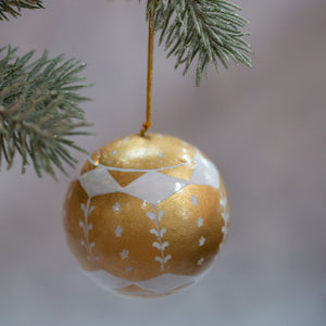 "3"" Gold & White Carousel Christmas Bauble"