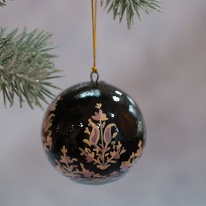 "3"" Black & Gold Indian Christmas Bauble"