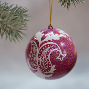 "3"" Pink Glitter Leaf Christmas Bauble"