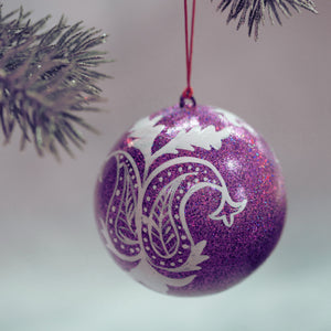 "3"" Purple Glitter Leaf Christmas Bauble"
