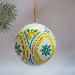"3"" Indian Blue Flower Christmas Bauble"