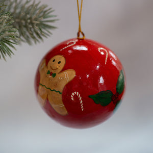 "3"" Red Gingerbread Man Christmas Bauble"