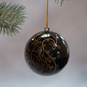 "3"" Black & Gold Teardrop Christmas Bauble"