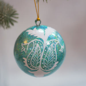 "3"" Turquoise Glitter Leaf Christmas Bauble"