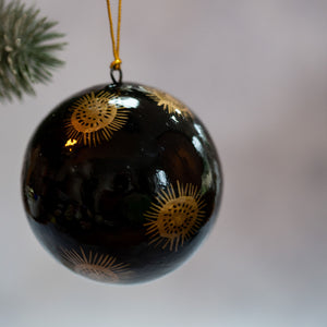 "3"" Black & Gold Dandelion Christmas Bauble"