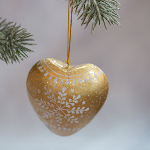 Gold Snowflake Hanging Heart