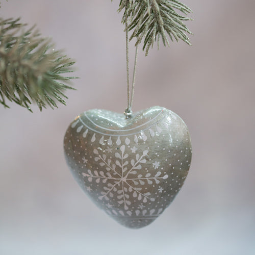 Silver Snowflake Hanging Heart