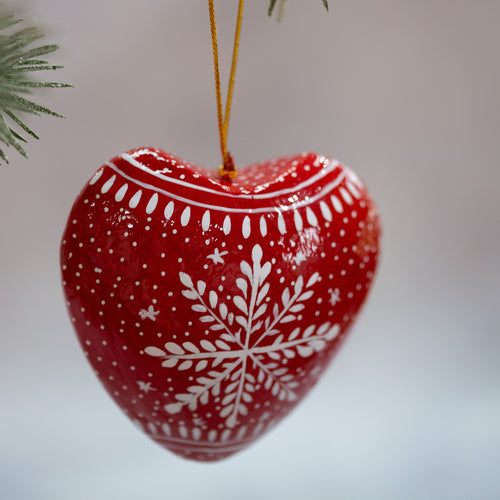 Red Snowflake Hanging Heart