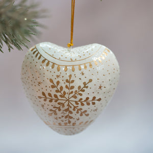 White Snowflake Hanging Heart