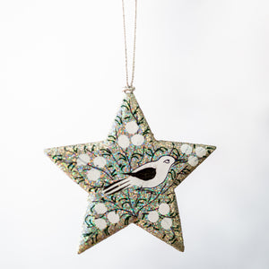 Silver Glitter With White Bird Hanging Star