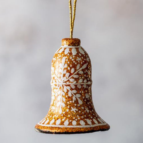 Gold Glitter Snowflake Hanging Bell