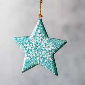 Turquoise Glitter Snowflake Hanging Star