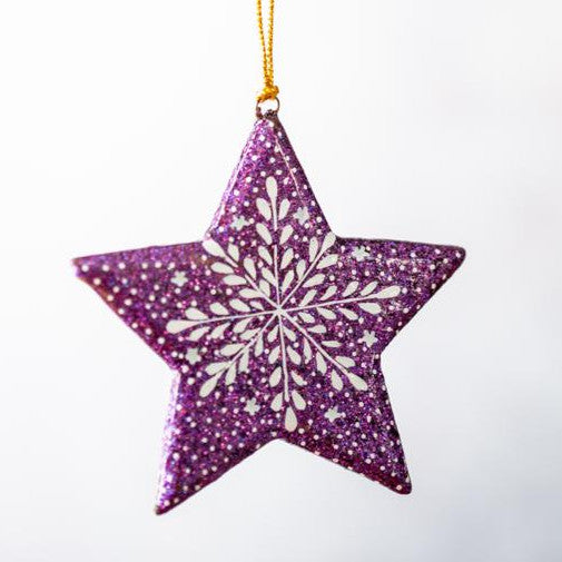 Purple Glitter Snowflake Hanging Star