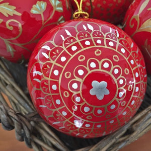 "3"" Red & Gold With Silver Star Christmas Bauble"