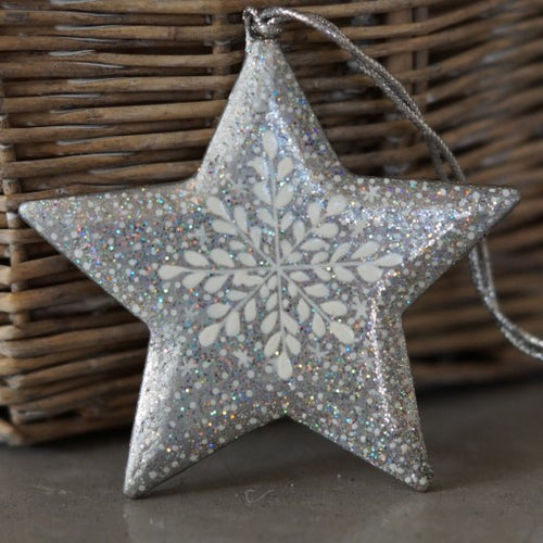 Silver Glitter Snowflake Hanging Star