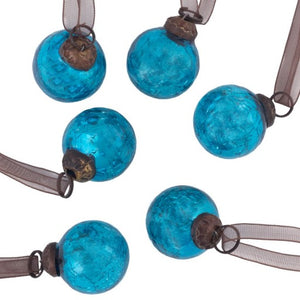 "Set of 6 Small Turquoise 1"" Crackle Glass Balls"