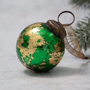 "2"" Medium Emerald & Gold Foil Ball"