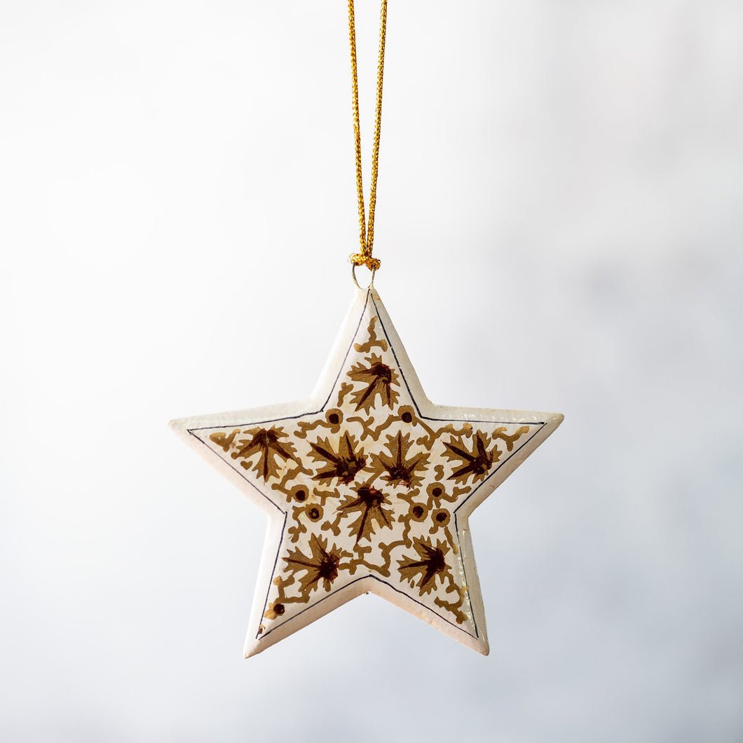 Gold & White Leaf Hanging Star