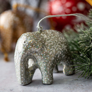 Silver Glitter Snowflake Hanging Elephant