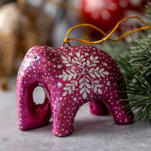 Load image into Gallery viewer, Pink Glitter Snowflake Hanging Elephant