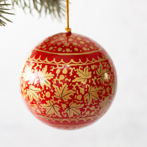 "3"" Red & Gold Chinar Leaf Christmas Bauble"