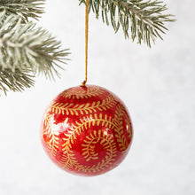 "Load image into Gallery viewer, 2"" Red & Gold Glitter Swirl Christmas Bauble"