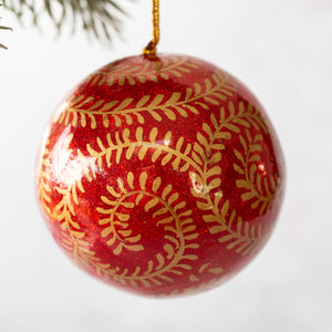 "2"" Red & Gold Glitter Swirl Christmas Bauble"