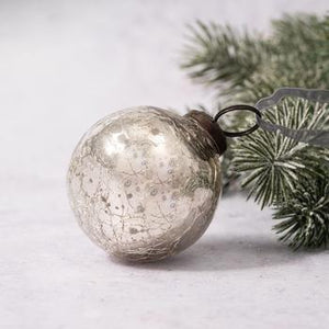 "2"" Medium Silver Crackle Glass Christmas Bauble"