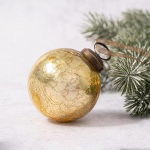 "2"" Medium Gold Crackle Glass Christmas Bauble"