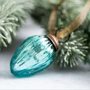 "Set of 6 Small Mint 1"" Crackle Glass Pine Cones"