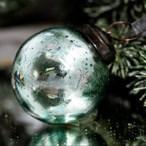 "2"" Medium Mint With Silver Foil Glass Ball"