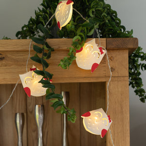 Red & White Owl Paper String Lights
