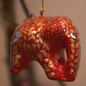 Red & Gold Glitter Swirl Hanging Elephant