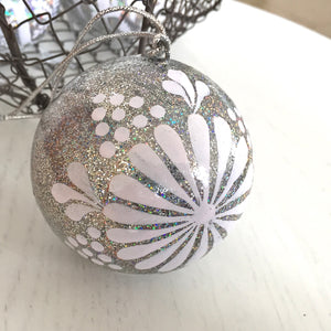 "3"" Silver Scandi Christmas Bauble"