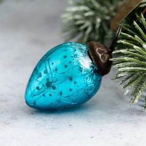"Set of 6 Small Turquoise 1"" Crackle Glass Eggs"