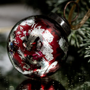 "2"" Medium Wine With Silver Foil Glass Ball"