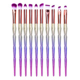 10Pcs Diamond Rainbow Makeup Brushes Set