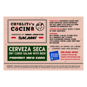 Cerveza Seca — Dry Cured Beer Salami