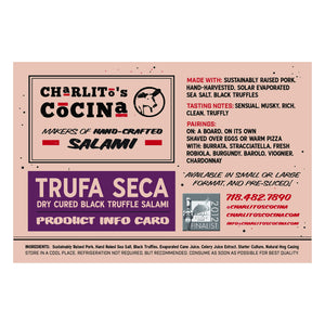 Trufa Seca Trio — Dry Cured Black Truffle Salami — 5 Pieces, Best Value!