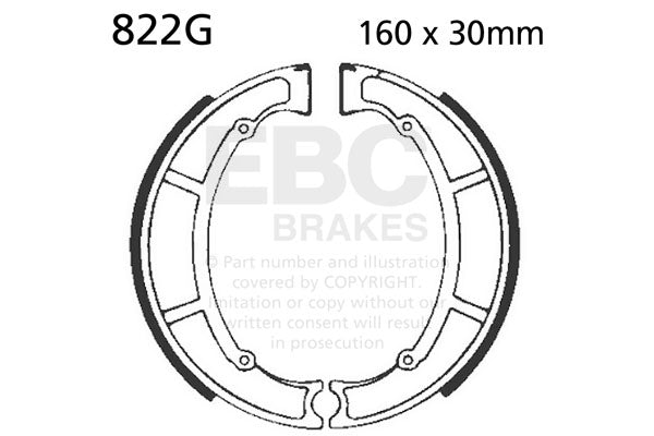 EBC Brake Shoes Maico, Rear #822G