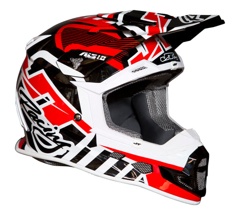 JT RACING USA  ALS 1.0 Helmet, Red/White/Black